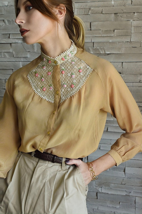 Floral neckline Blouse - Peggy's morning
