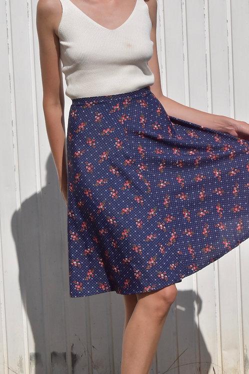 60's floral silk skirt - Blues