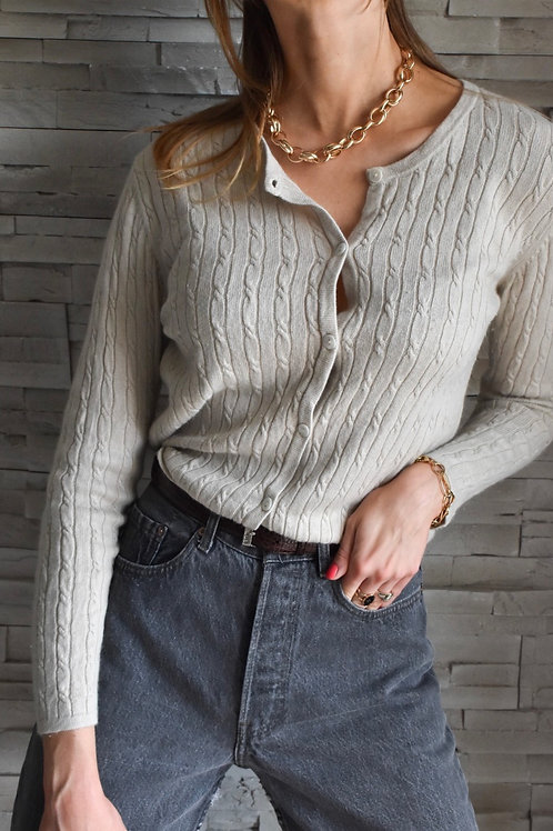 Beige cardigan with ruffled trimming - Infinity