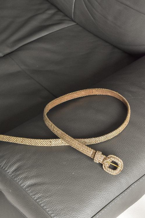 Vintage thin textured belt - Straw