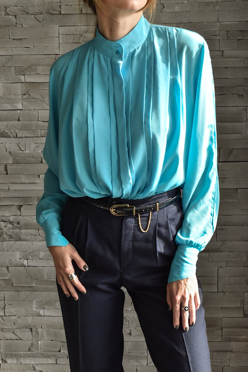 Turquoise up collar blouse - Angel