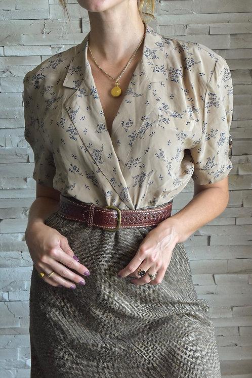 Silk V-neckline blouse - Lavande