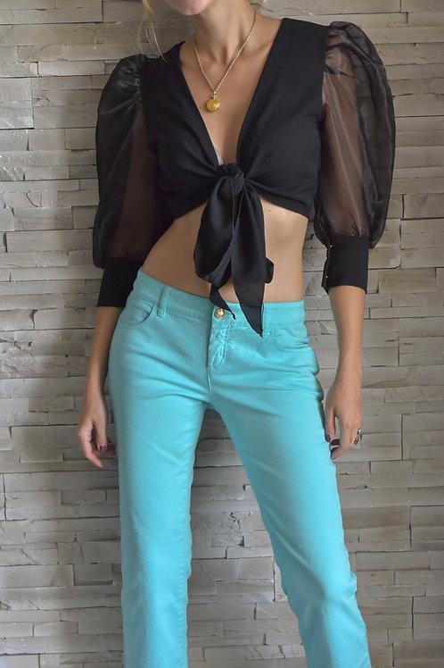 Versace low waist jeans - Blue curacao
