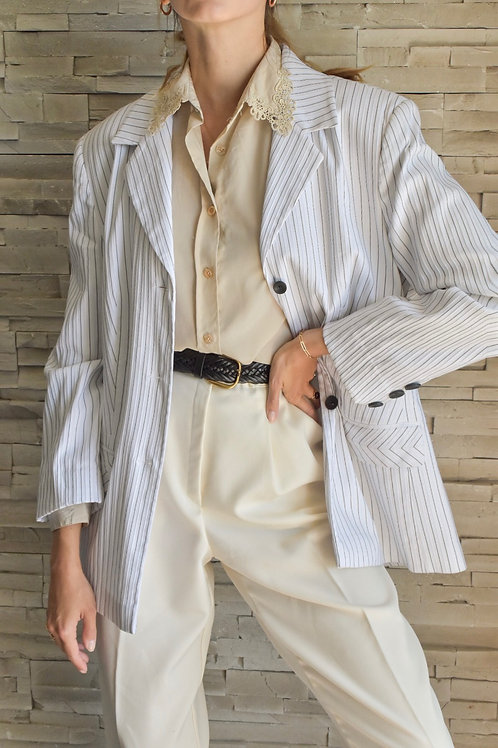 White classy stripped blazer - Confidence