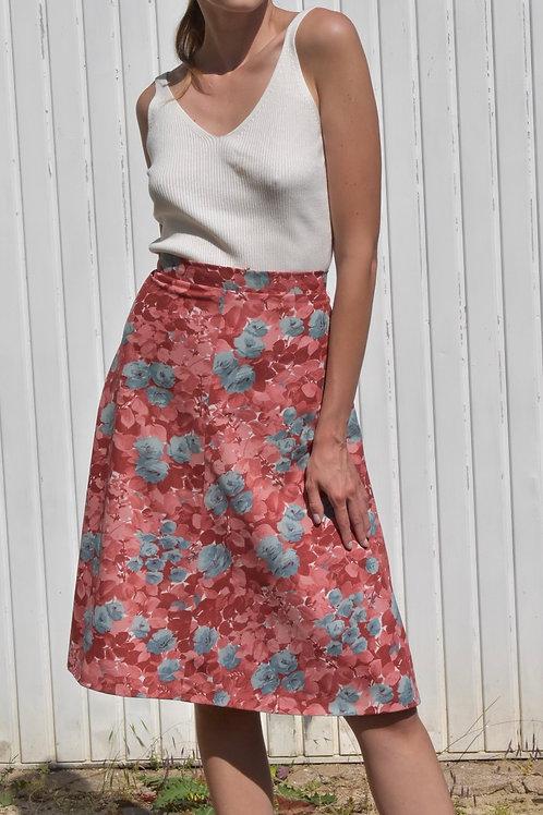 50's floral midi skirt - Floral shimmer
