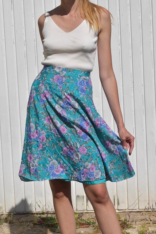 Floral silk midi skirt - Turquoise