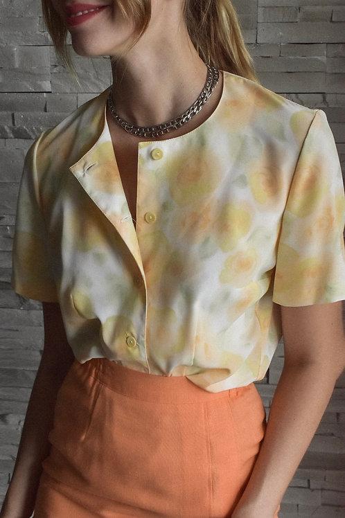 Floral short sleeve blouse - Peachy