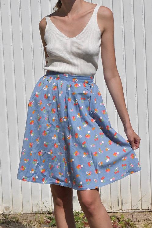 50's floral midi skirt - Fleurs et cerises