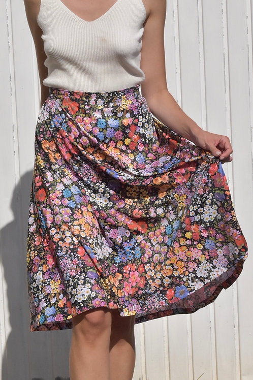 50's Floral midi skirt - Flower field