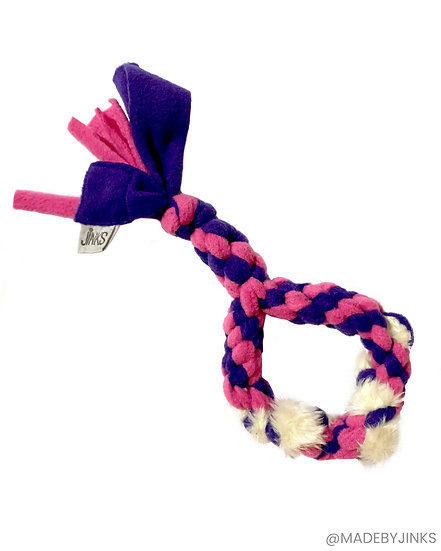 Braided fleece with faux-fur weave tuggy