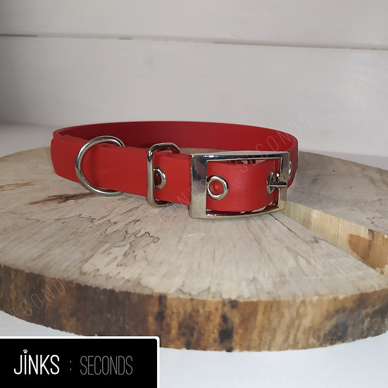 Red/Silver 20mm wide Adjustable BioThane collar in SMALL/35-46cm
