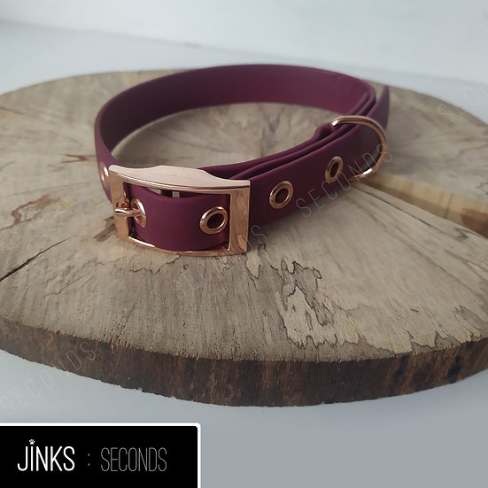 Seconds - Wine/Rose-gold 20mm wide Adjustable BioThane collar in X-SMALL/31-36cm