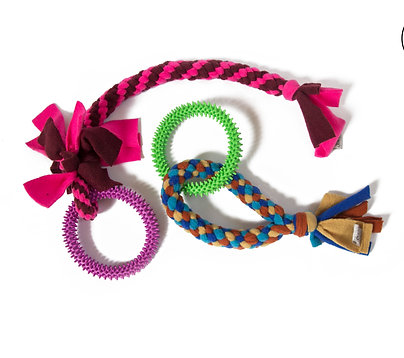 Braided Fleece Tuggy With Ring Toy