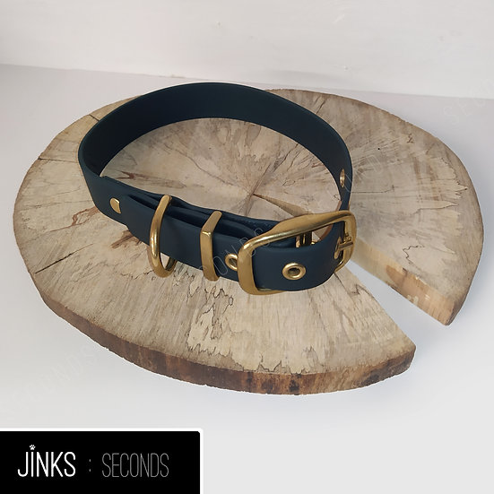 Seconds- Forest Green/gold 25mm wide Adjustable BioThane collar in SMALL/36-46cm