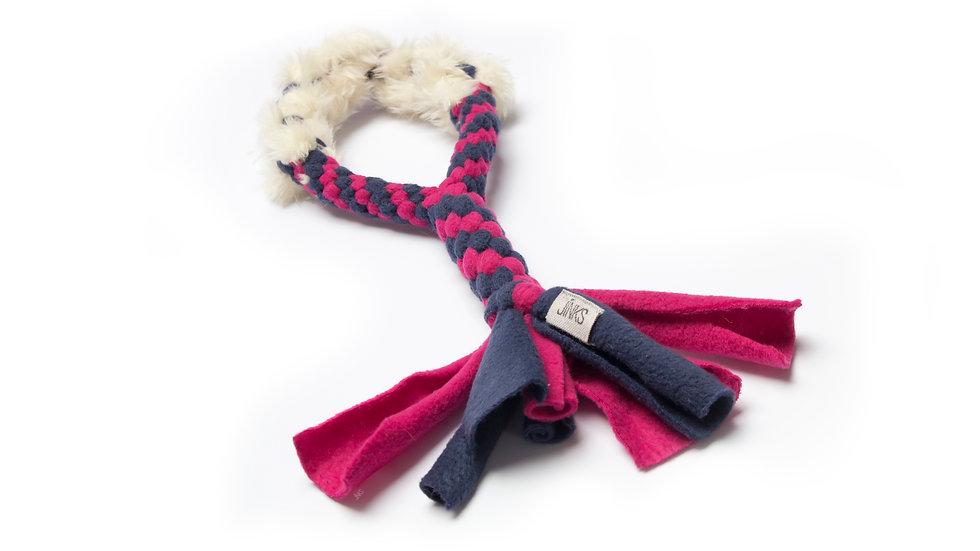 Braided fleece with faux-fur weave tuggies