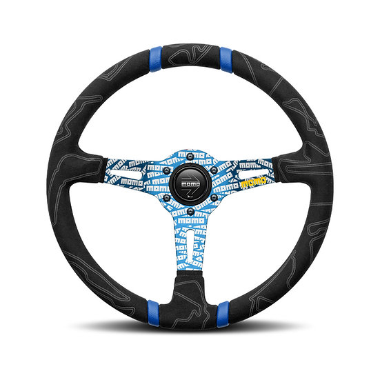 MOMO ULTRA BLACK STEERING WHEEL - BLUE INSERT - STREET