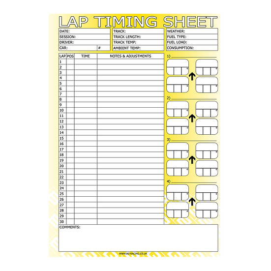 B-G RACING - LAP TIMING SHEETS (PAD OF 50)