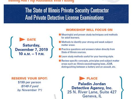 3-hour Illinois Security Contractor/Detective Exam Prep Workshop