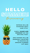 IG story contest template with a blue background and pineapple wearing sunglasses