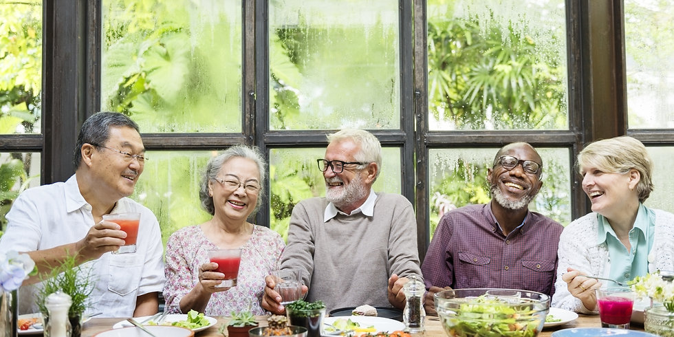 Senior Group Relax Lifestyle Dining Conc