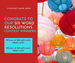 Contest template with colorful lanturns and text
