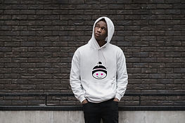 young male wearing a branded hoodie