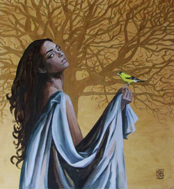 Girl with goldfinch
