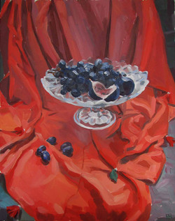 Grapes and figs on red