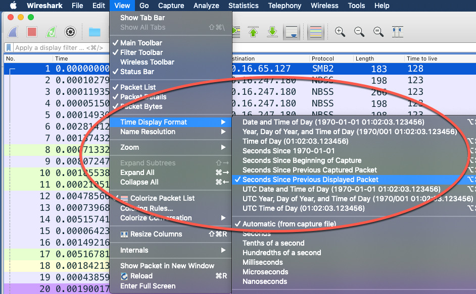 Wireshark View Time Display Format Options