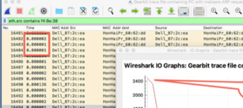 Wireshark packet trace PC ARPing 3 milli