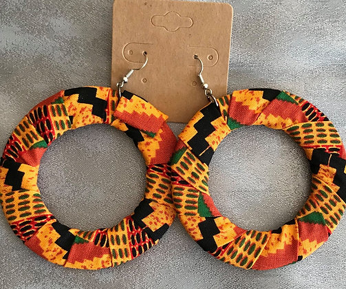 Orange Kente Earring Large