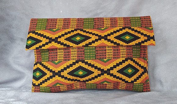 Orange Kente Clutch