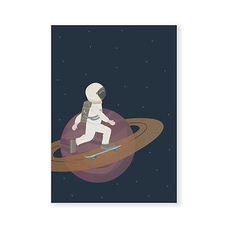 postkaart - ruimtevaarder op skateboard.