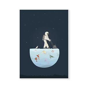 postkaart - ruimtevaarder op aquarium.jp