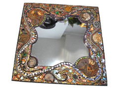 Mosaic Ammonite, shell & Peacock feather mirror