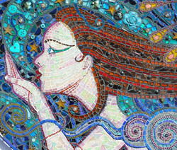 Detail from- A Kiss on the Wind, Mixed media Mosaic, 74x23'
