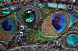 Mosaic peacock mirror - Real peacock