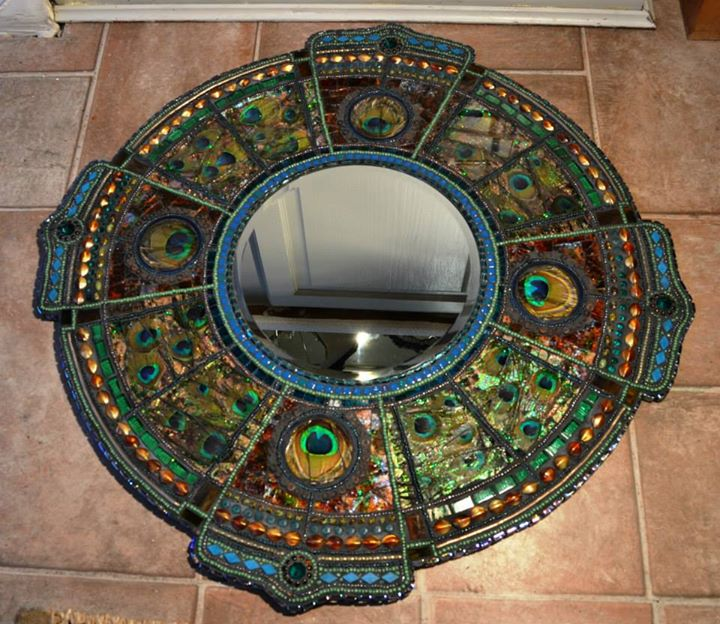 Art Deco inspired, peacock Mirror,