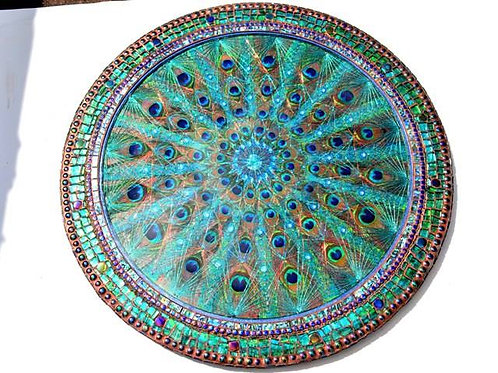 LARGE Peacock feather, STRING ART & Paua shell, mosaic table
