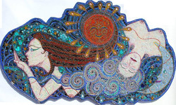A Kiss on the Wind, Mixed media Mosaic, 74x23'