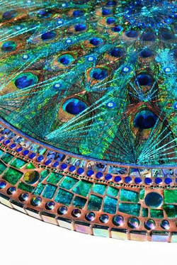 LARGE Peacock feather fan inlay, String art & mother of pearl table