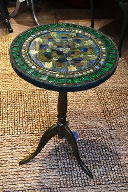 Peacock feather swirl, inlay tables
