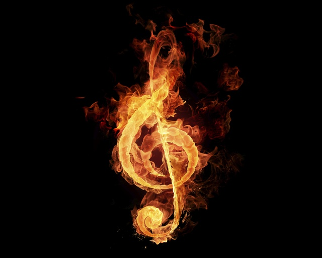 treble clef on fire