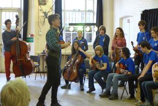 Ben teaching the London Youth Folk Ensemble