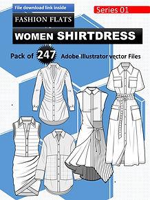 Women shirtdress editable flat sketches pack