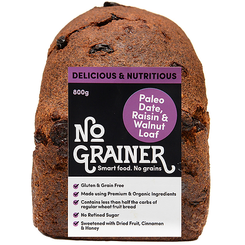 No Grainer- Paleo Date, Raisin & Walnut loaf