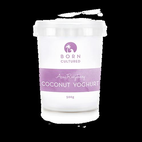 Born Cultured Organic Coconut Yoghurt 500g -Acai Raspberry