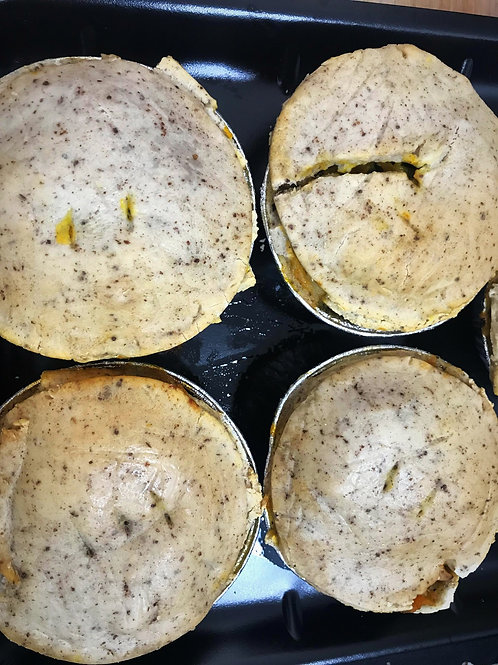 Vegetarian Spelt Lentil and Potato, Pumpkin, leek, Spinach  Pies
