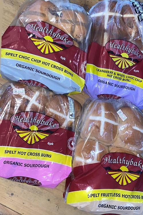 Healthy Bake Sourdough Hot X Buns - Spelt Choc Chip