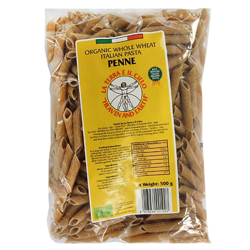 La Terra Organic Whole Wheat Pasta- Penne 500g